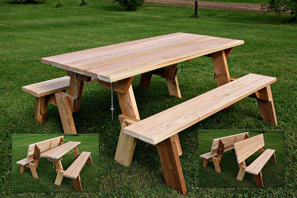 Large 72 Combination Folding Picnic Table Park Bench Picnic Table Bench Picnic Table Picnic Table Plans