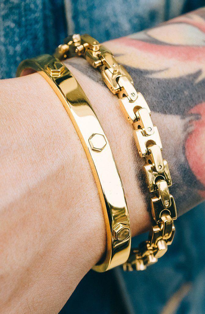 Mister Hex Cuff Bracelet   Gold Bracelets in 2019   Mens