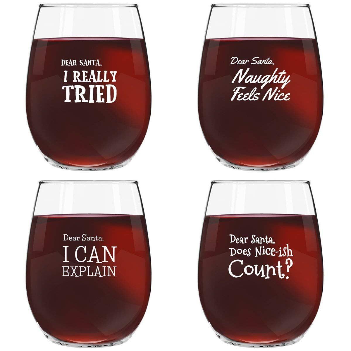 Dear Santa Funny Christmas Stemless Wine Glass Set Of 4 Gift Guru Gal Wine Glass Sayings Stemless Wine Glasses Wine Glassware