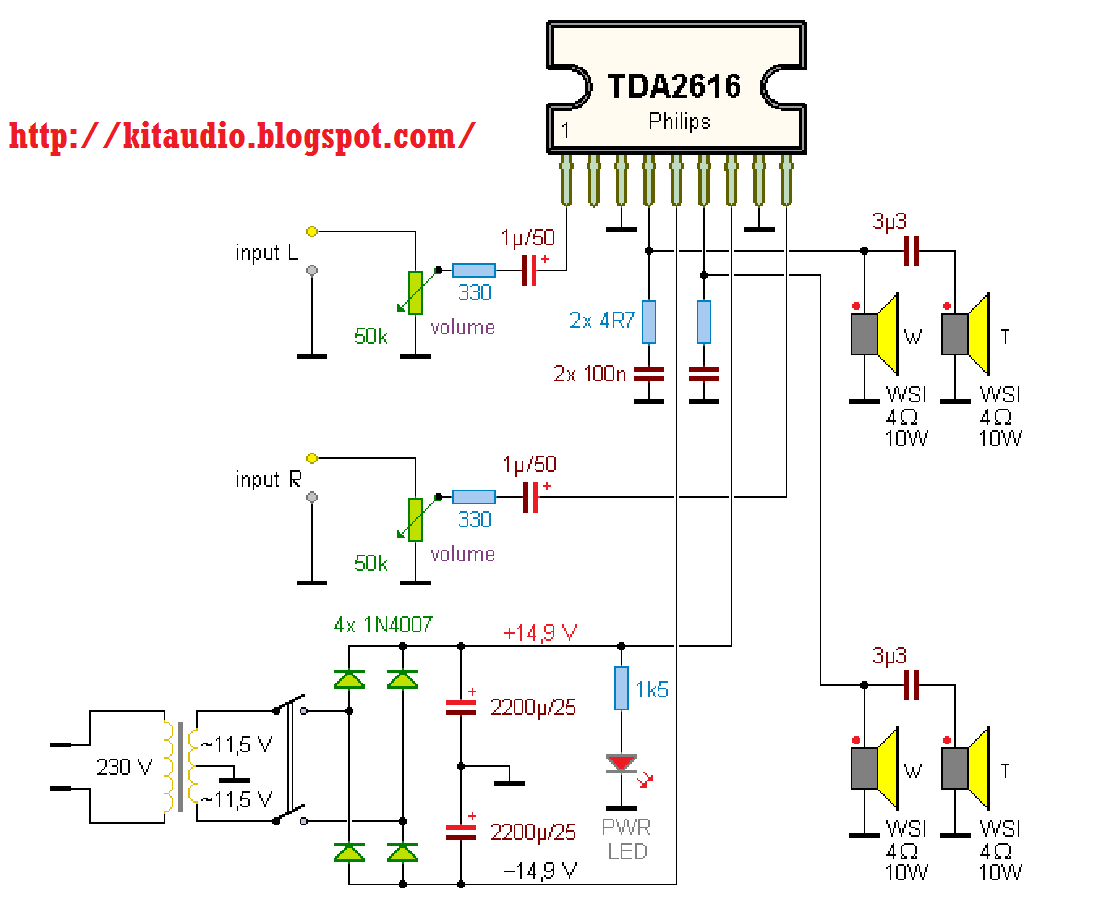 tda watt audio amplifier circuit audi wiring diagram  audi