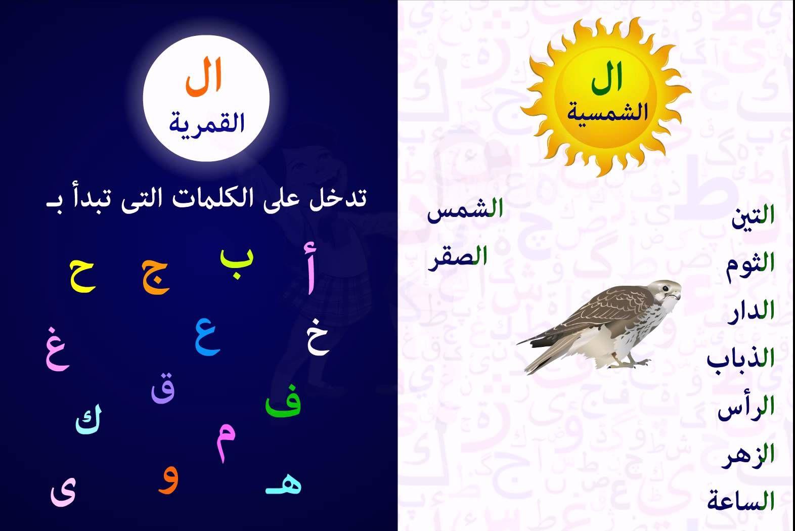 ال القمرية وال الشمسية Arabic Kids Arabic Alphabet For Kids Learn Arabic Alphabet
