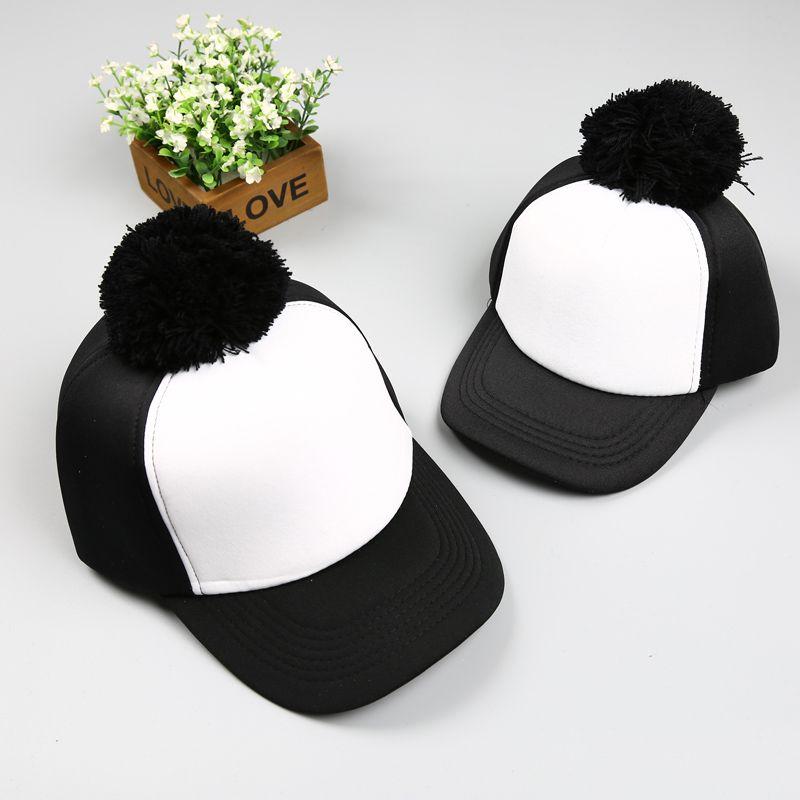 705fc9c653c New Pom Pom Hats Kids Cotton Caps Boys Baseball Caps Summer Hats ...