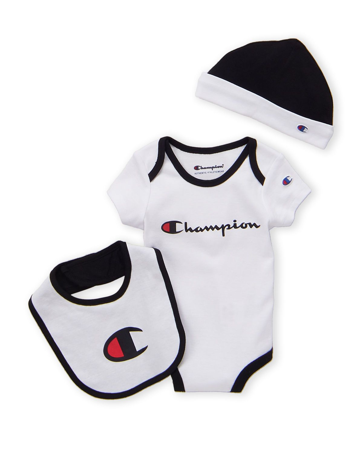 (Infant Boys) 3-Piece White Tipped Bodysuit & Hat Set in ...