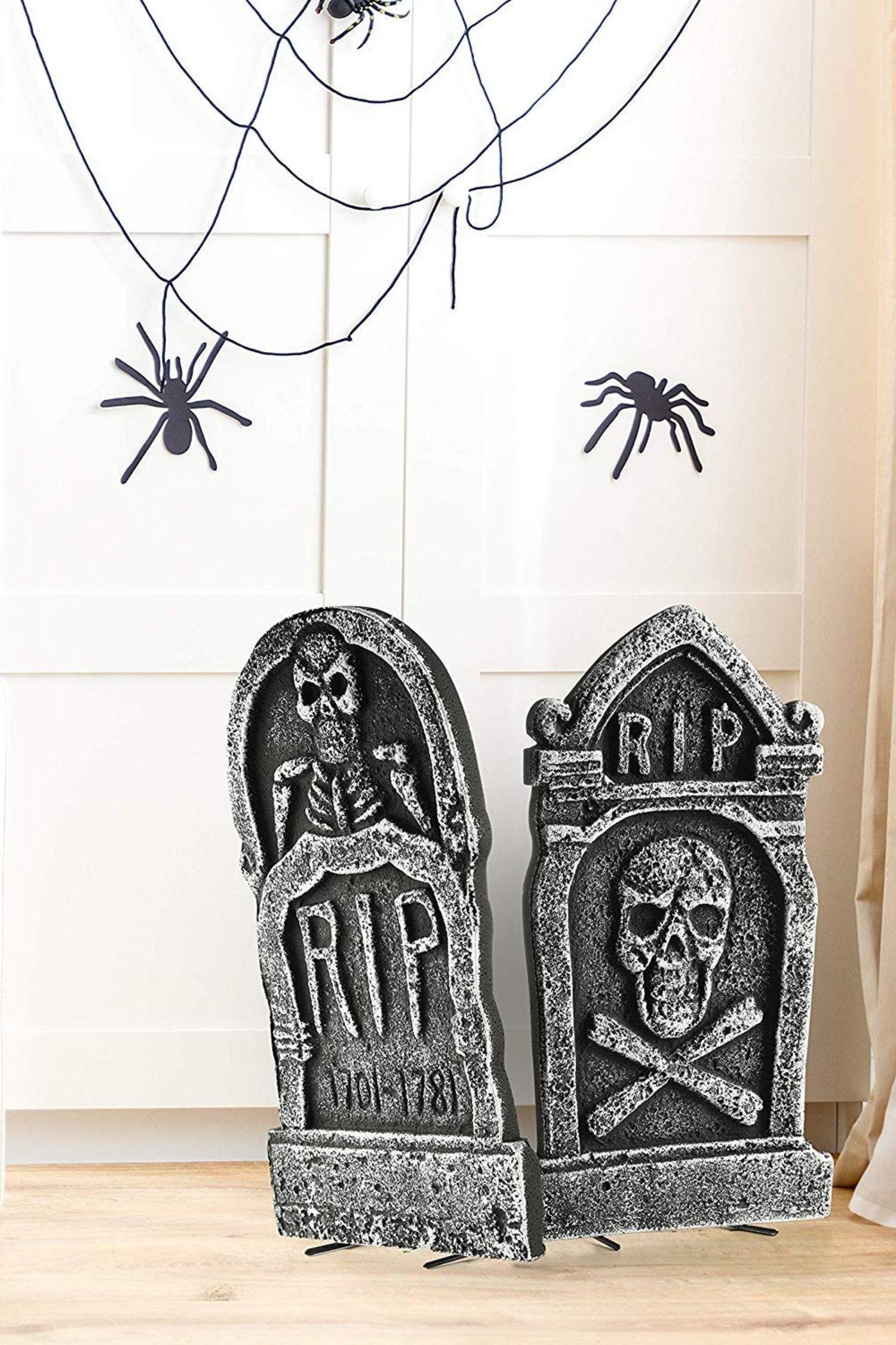 4er Packung Halloween Dekoration 43cm Rip Grabstein Aus Leichtem Schaumstoff Halloween Deko Halloween Deko Fur Draussen Halloween Sachen