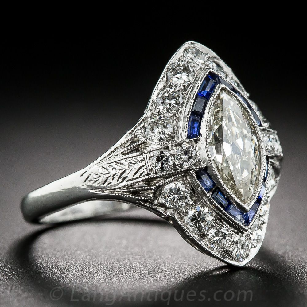 Carat Art Deco Marquise Diamond and Sapphire Ring