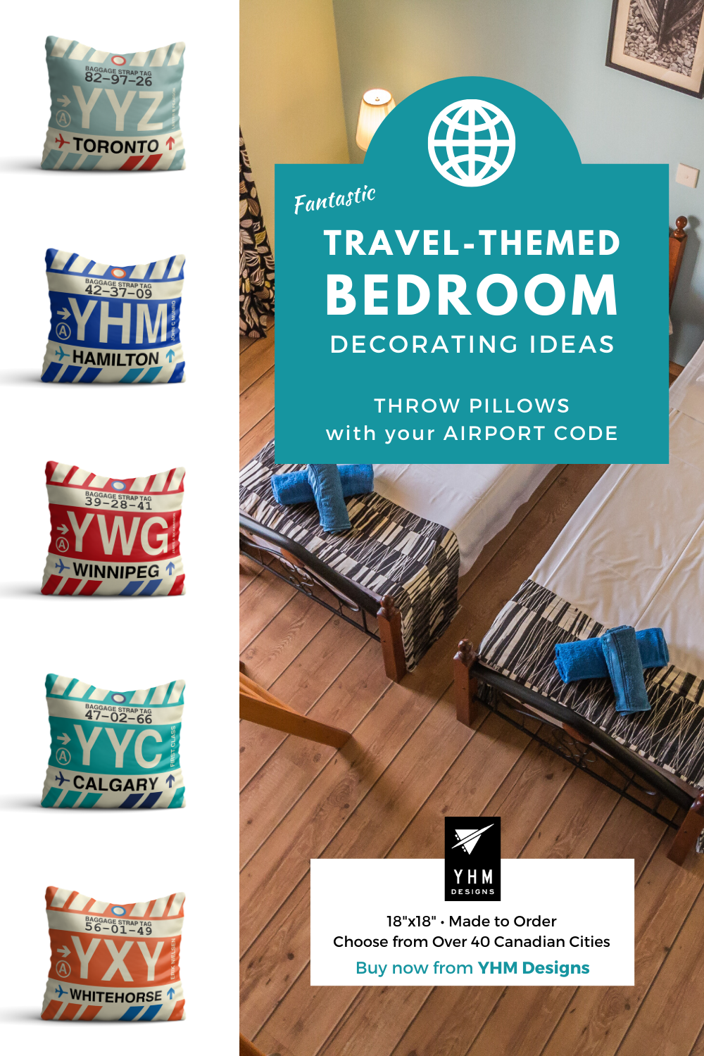 Add a pop of colour to your bedroom with throw pillows