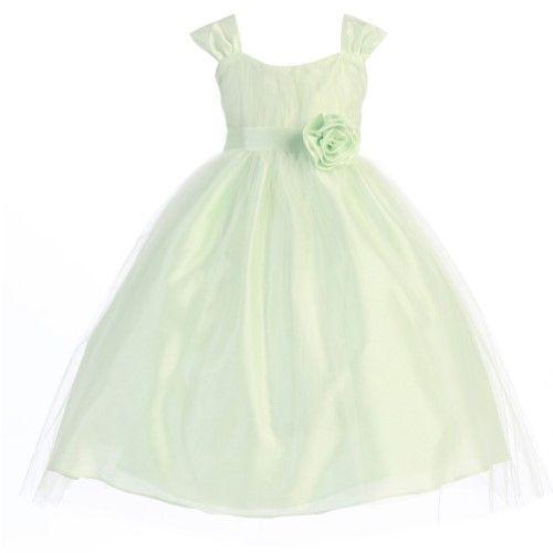 fa7cae540 Calla Collection Big Girls Mint Polysilk Tulle Junior Bridesmaid Dress  8-12, Size: 10, Green