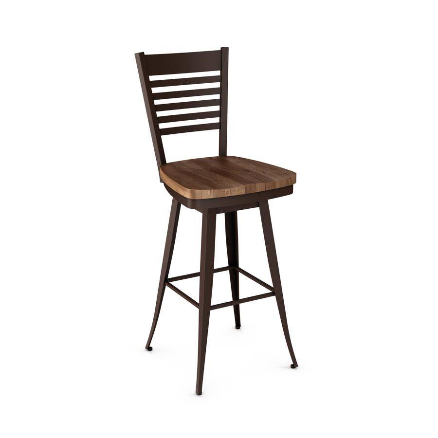 Superb Edwin Swivel 34 Inch Stool Distressed Solid Wood Seat Machost Co Dining Chair Design Ideas Machostcouk