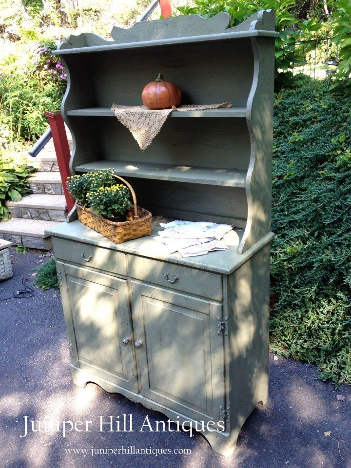 Rustic Painted Hutch~sage Green With Black Undertones