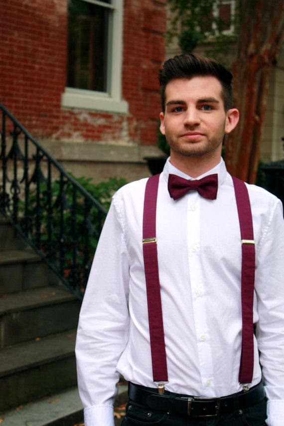 Suspenders and Bow Tie Deep Red