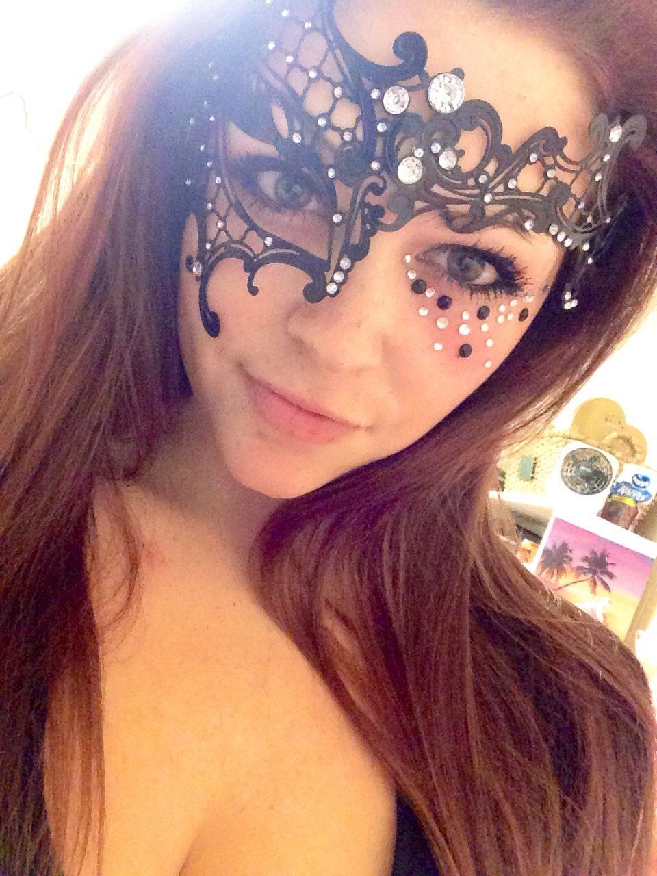 Masquerade makeup with mask :)