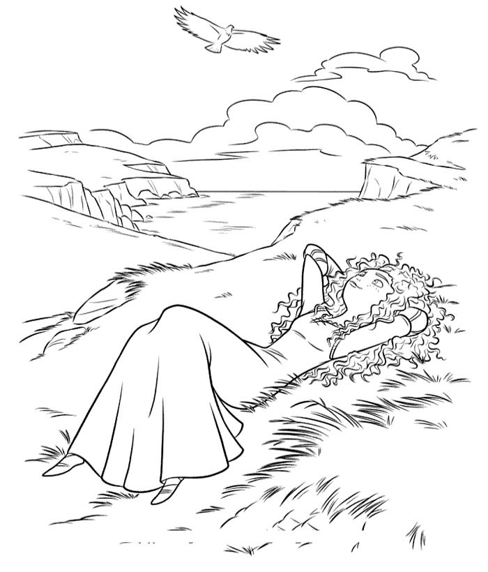 Merida Lying In Grass Coloring Pages
