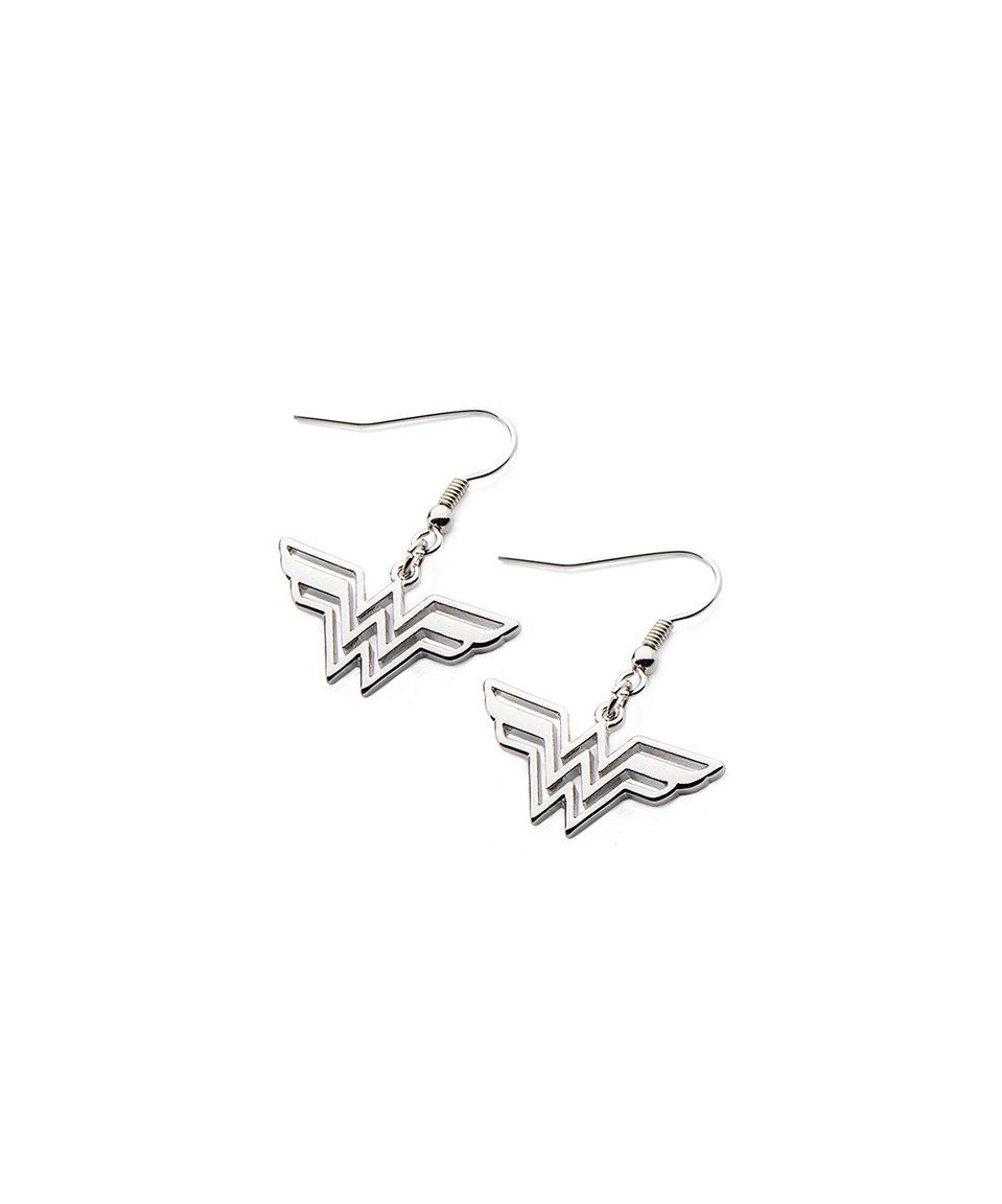 This Silver Wonder Woman Logo Drop Earrings by Wonder Woman is perfect! #zulilyfinds