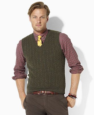Polo Ralph Lauren Vest, Cable-Knit Merino Wool Sweater Vest - Mens Sweaters  -