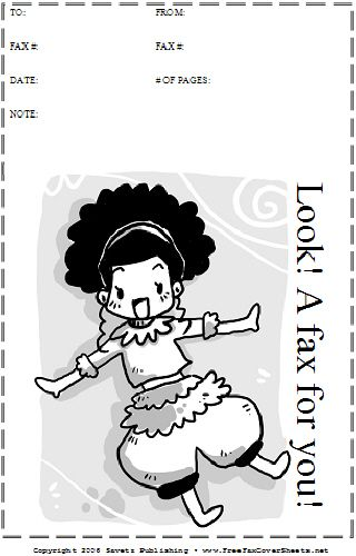 This printable fax cover sheet shows a dancing cartoon girl - free downloadable fax cover sheet