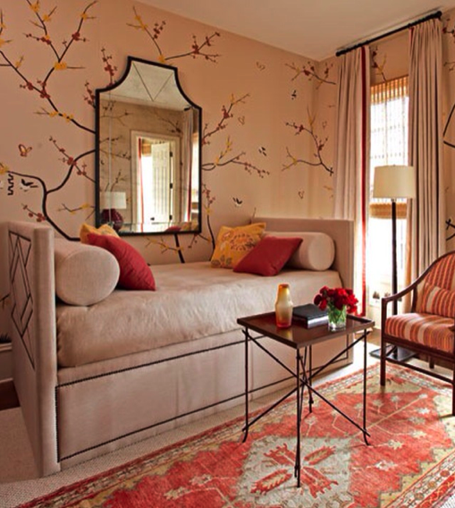 I like the wallpaper, but I love the daybed.