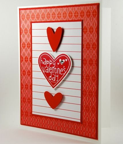Happy Valentines Day Handmade Card Full Of Red Hearts – Valentine Day Handmade Card