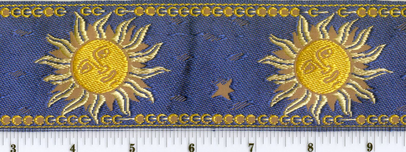 "Suns 2.3"" wide, 7.20"" pattern repeat. $3.50/yard at Calontir Trim."