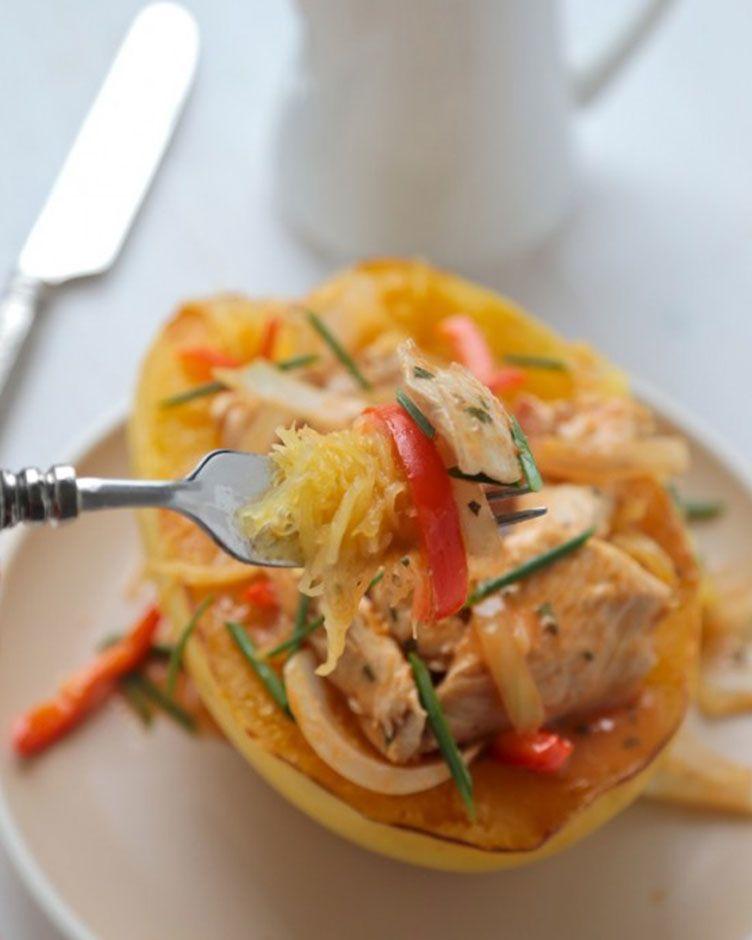 34. Thai Red Curry Spaghetti Squash Bowls  #comfortfood #squash #spaghettisquash…