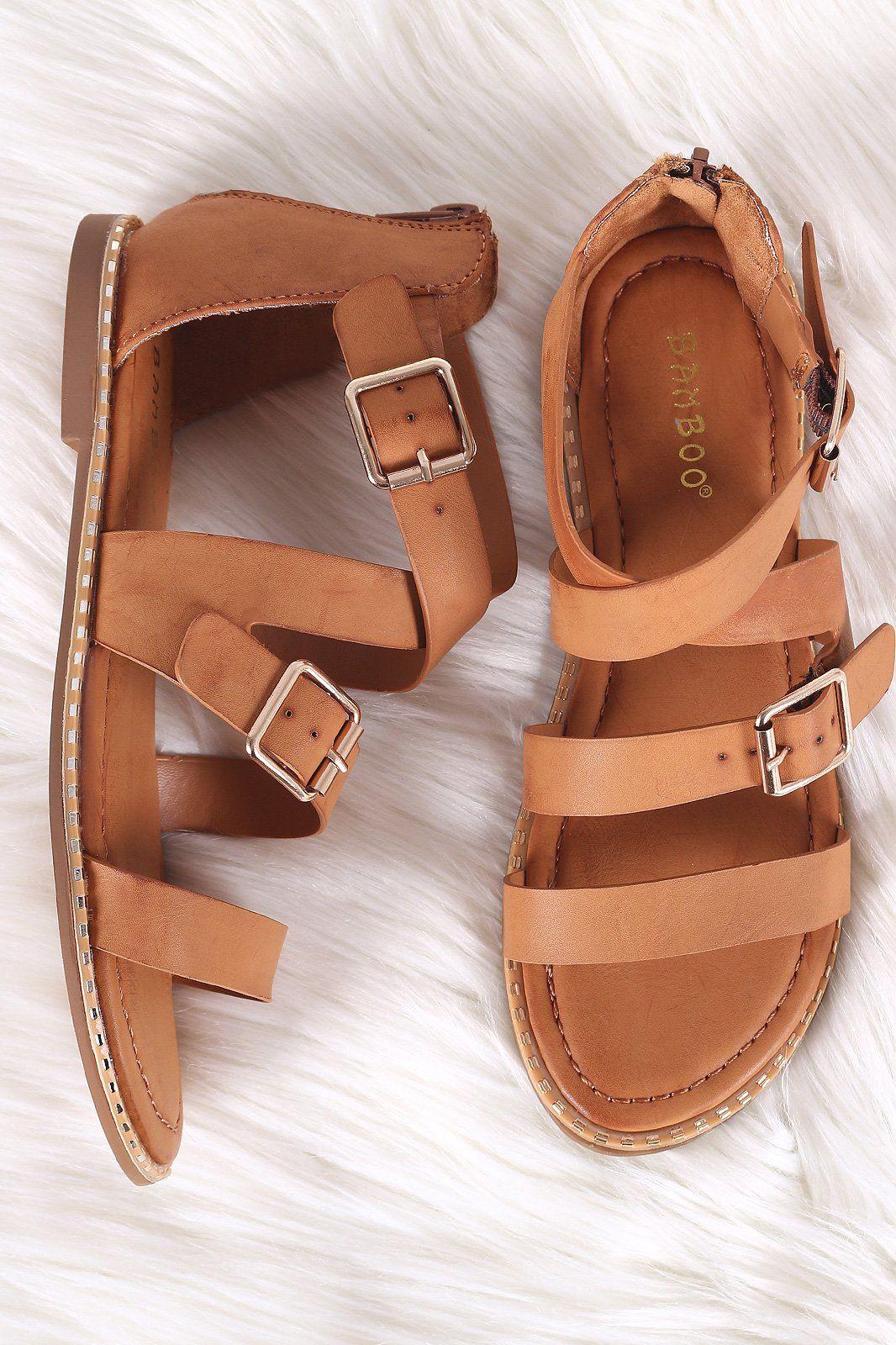 29e7edfa646d Bamboo Strappy Open Toe Metallic Trim Flat Sandal