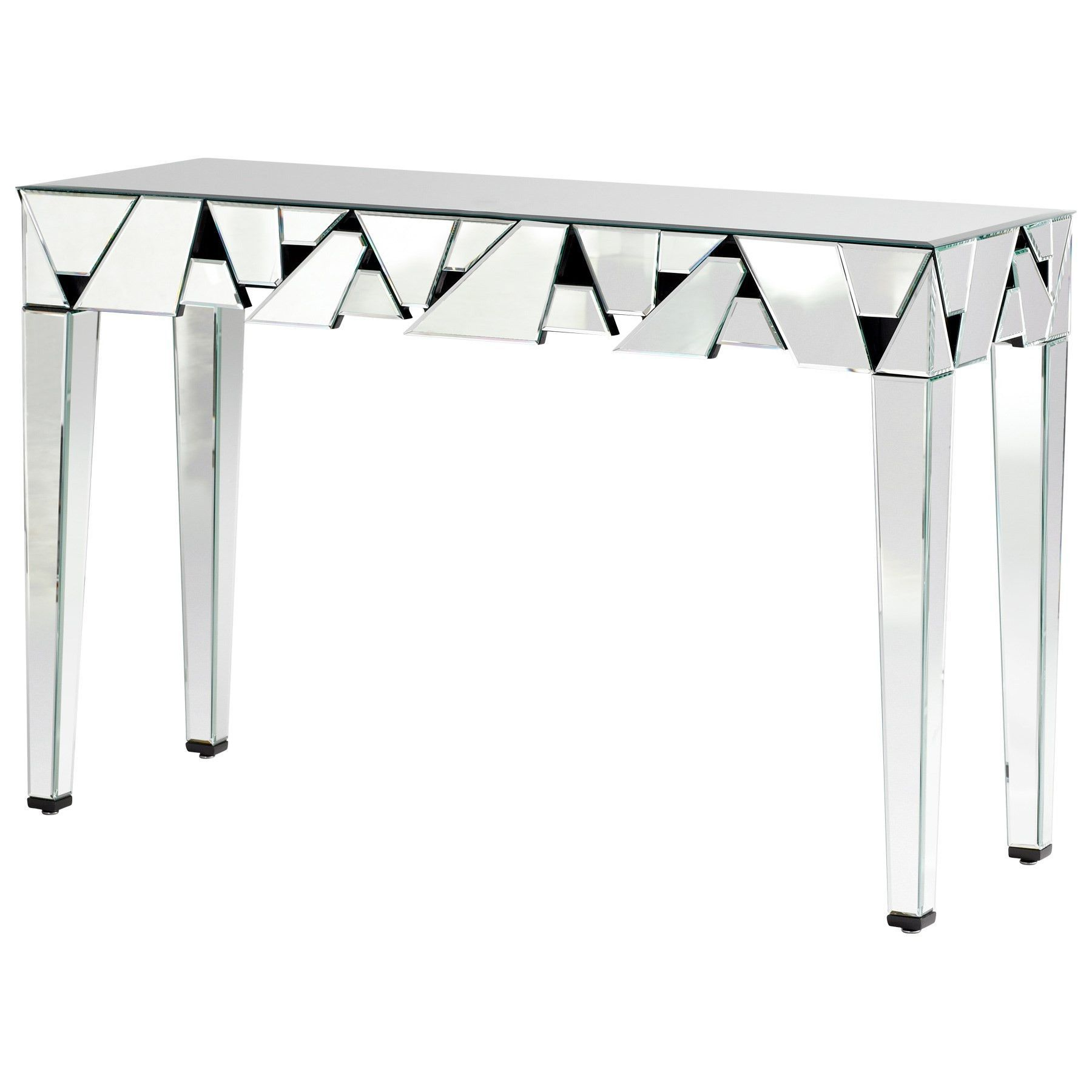 Shattered Obsession Mirrored Console Table by Cyan Design