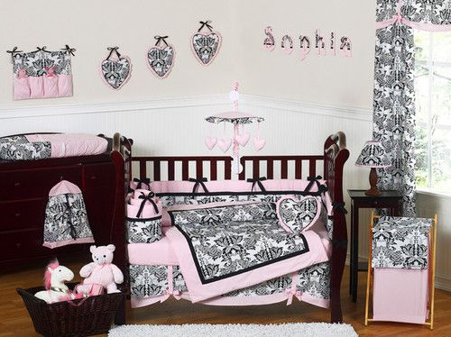 Pink Black Damask Baby Crib Bedding Set For Newborn Girl Room Sweet Jojo Designs Ebay Baby Girl Crib Bedding Crib Bedding Girl Baby Girl Crib Bedding Sets