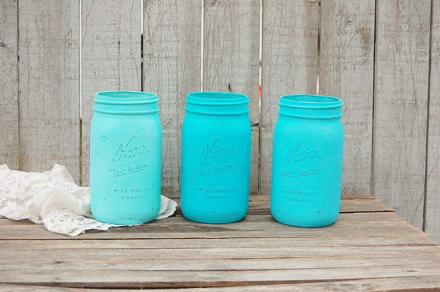 Photo of Aqua shabby chic mason jars