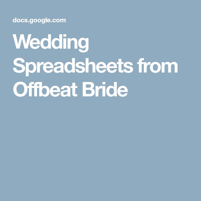 wedding spreadsheets from offbeat bride wedding planning