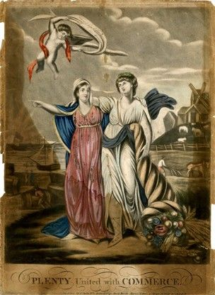 Two allegorical female figures with their arms around each other's shoulders, Plenty holding a cornucopia, Peace pointing to left, with a cherub flying above carrying a banner inscription 'Friendship & Commerce / all over the World'; ships at sea, men with barrels and bales, a team ploughing, windmill, livestock and the rising sun in the background; with Hinton's name added.  1802  Hand-coloured mezzotint with etching
