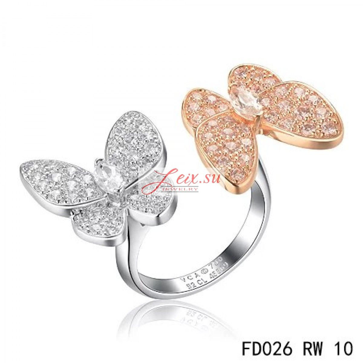 Van cleef arpels replica two butterfly between the finger ring pink gold round pink sapphires