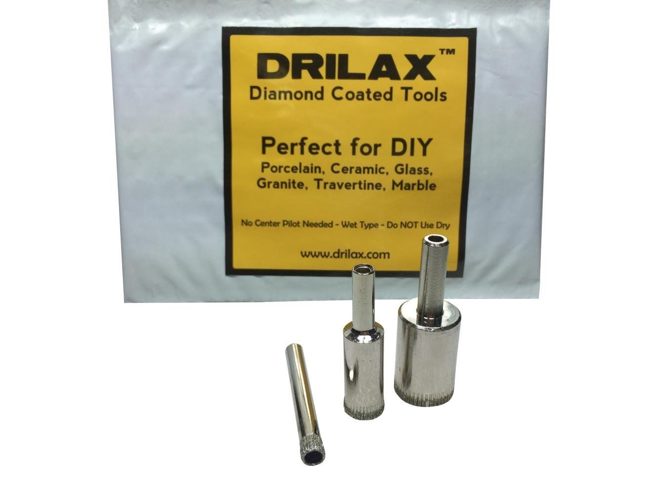 Drilax 3 Pcs Diamond Drill Bit Set 1 4 1 2 3 4 For Tiles Glass Fish Tanks Marble Granite Ceramic Porcelain Glass Fish Tanks Bottle Lamp Granite