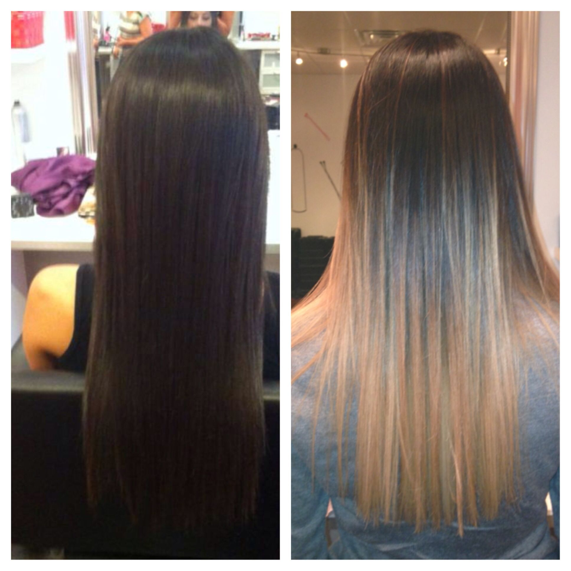 Ballayage Blond se rapportant à from a natural dark brown to a faded blonde balayage and ombre