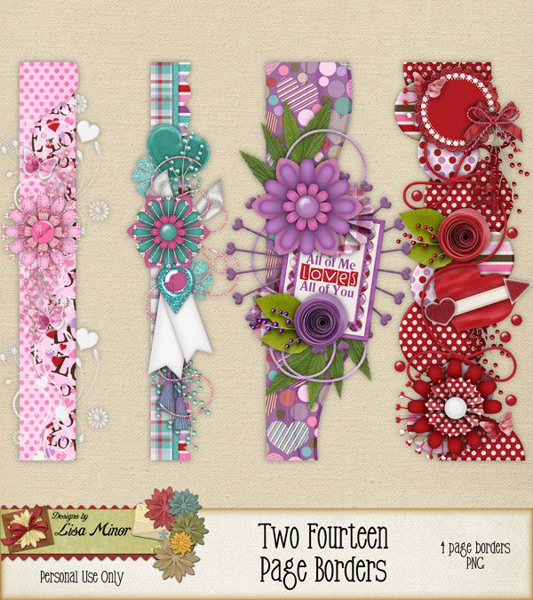 Two Fourteen Page Borders Valentines Day Scrapbook Kit Love