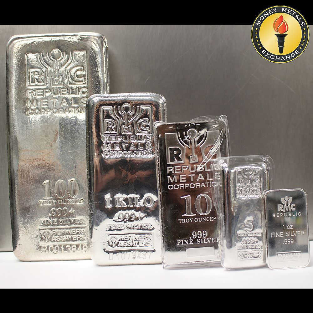 All Star Lineup From Republic Metals Corp 100oz Kilo 10oz 5oz And 1oz Silver Bars Moneymetals Republic Metals C Silver Bars Silver Bullion Gold Coin Image