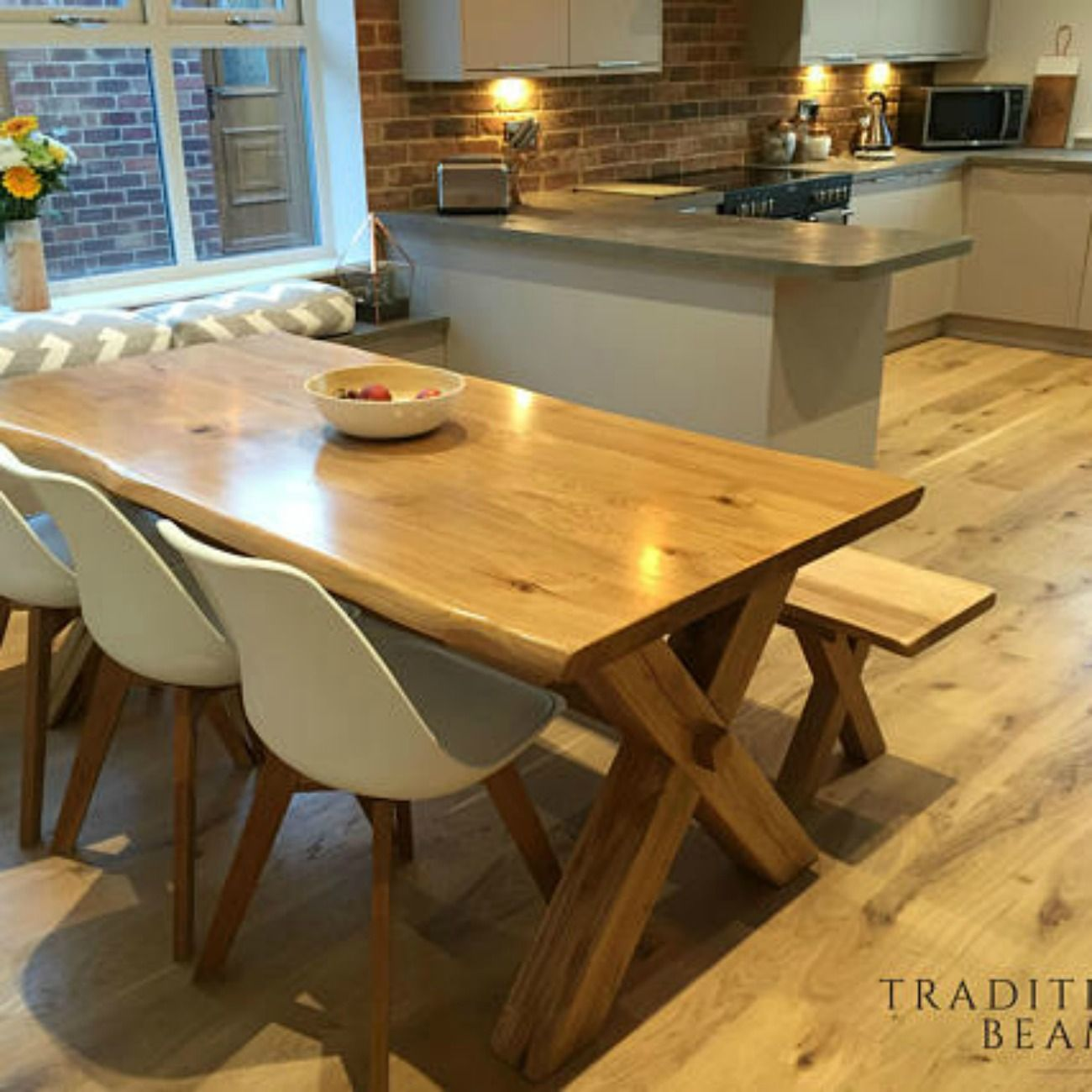 Solid Oak Cross Leg Dining Table With Matching Bench Ad Etsy