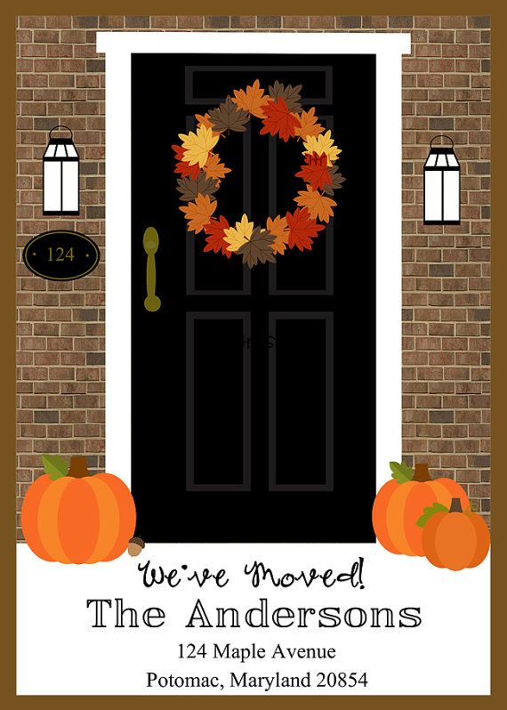 Autumn House Number Moving Announcement Printable 5 By