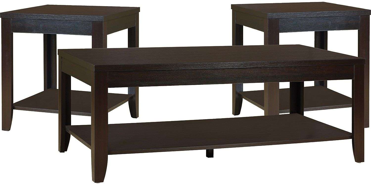 Aspen 3Piece Coffee and Two End Tables Package Aspen and Bricks