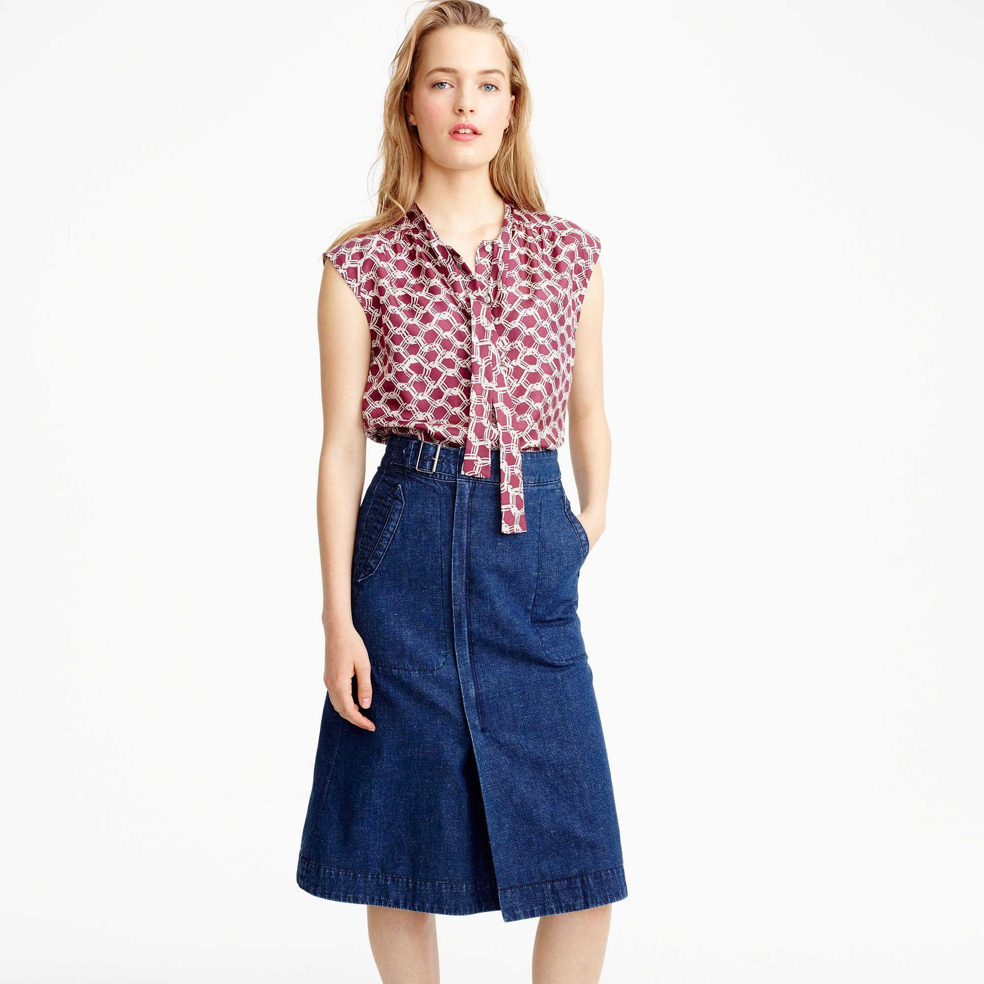 638d481966 Belted A-line skirt in denim : A-line/Midi | J.Crew | Summer 2017 ...