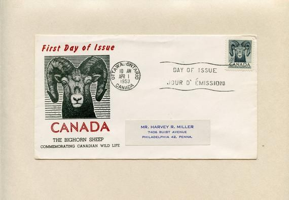 April 1 1953 Canada Fdc Bighorn Sheep Cover Canadian Wildlife Ottawa Ontario Stamp 324