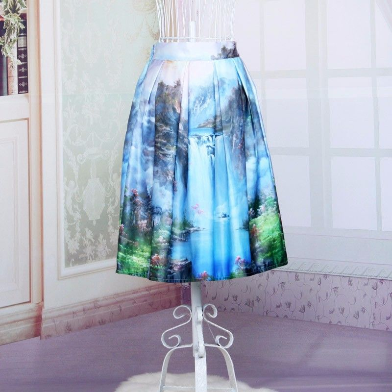 New 2015 summer European style waterfall landscape printing large swing midi skirts high waist blue tutu skirts hot selling Price: US $15.68