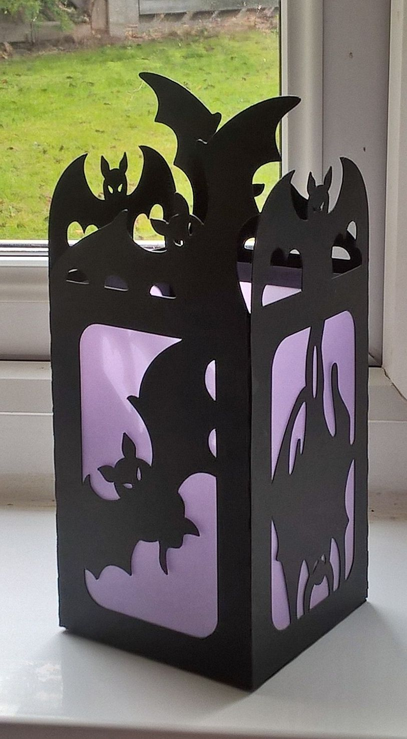 Halloween luminaries made from a free SVG from The