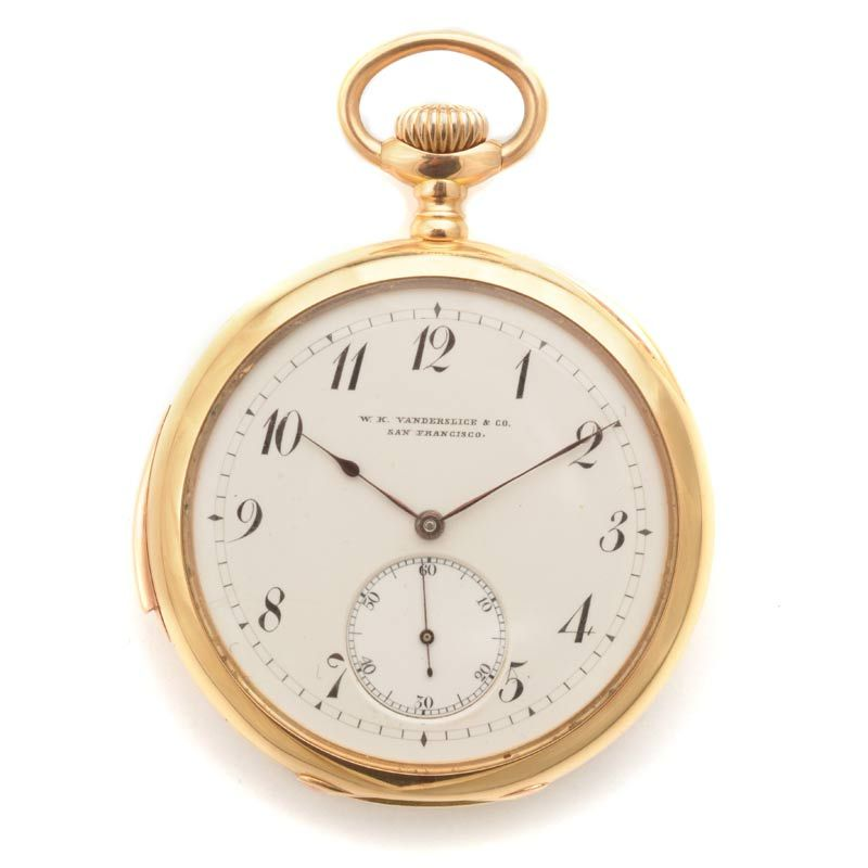 0870eb60e9c 18k Yellow Gold Open Face Minute Repeater Pocket Watch