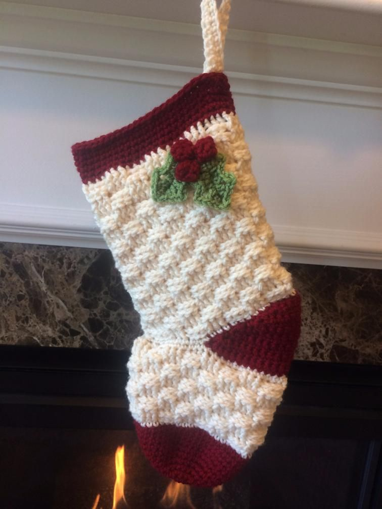 Basket Weave with Holly Christmas Stocking