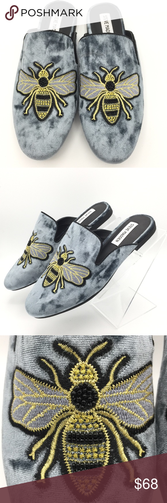 dbba5776026 Steve Madden Embroidered Bumble Bee Slide Mules NWOB Blue Gray Fabric