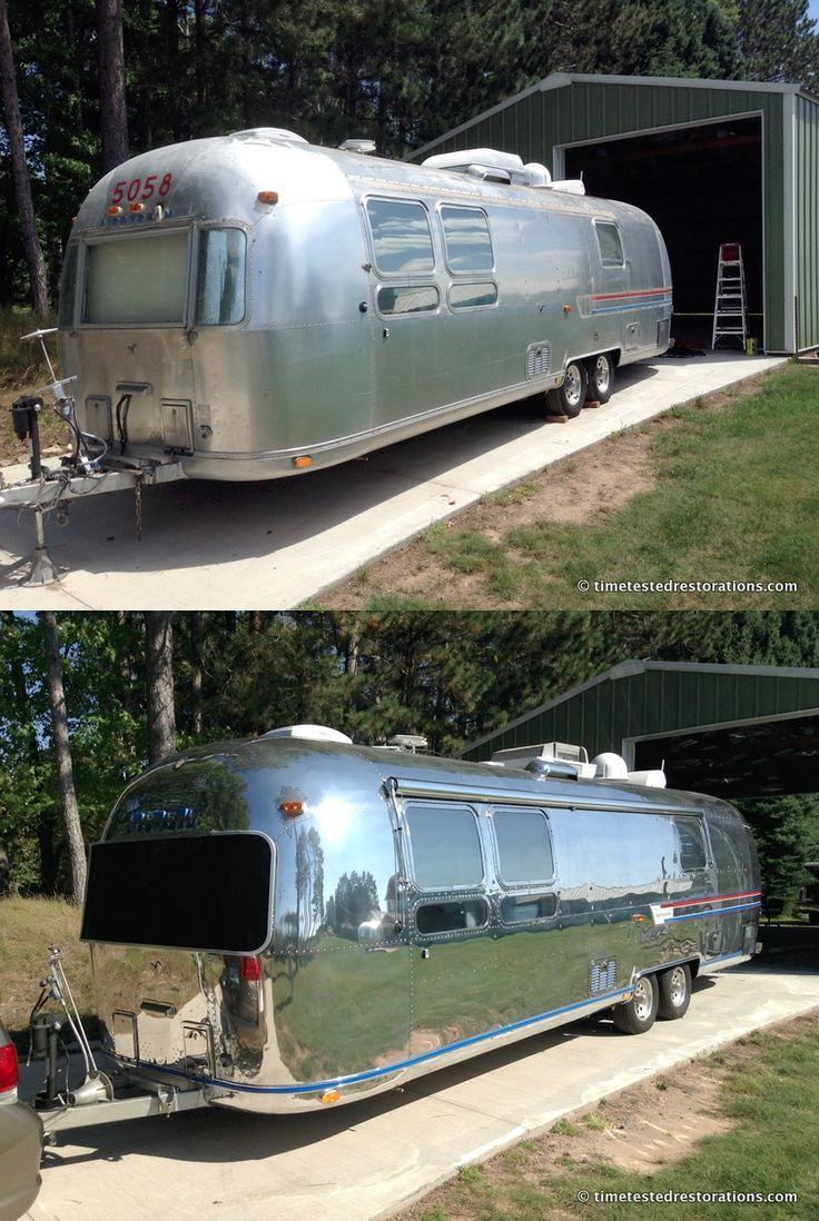 1978 Airstream Sovereign. Before and after polishing