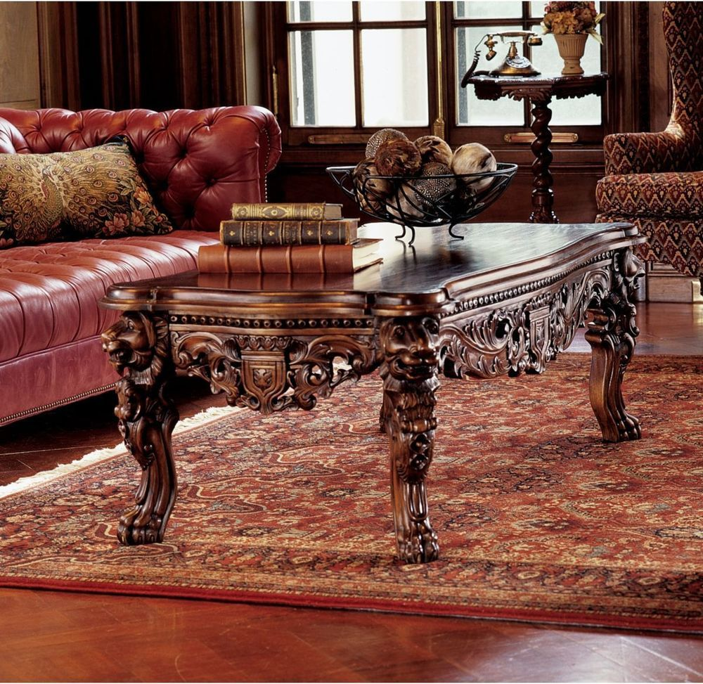 Majestic Lions Hand Carved Solid Mahogany Medieval Antique Replica Coffee  Table