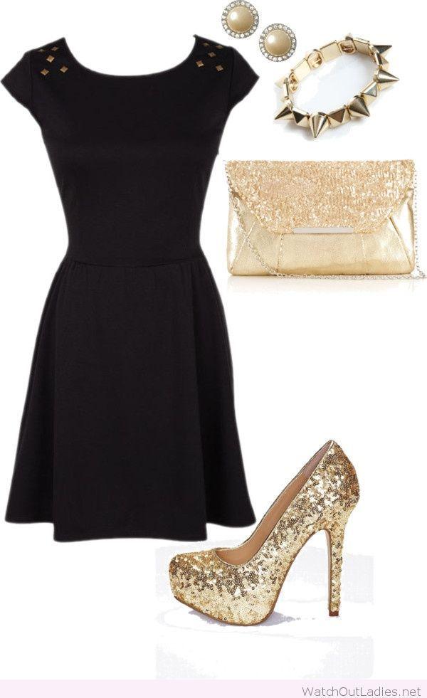Golden Glitter Accessories And A Black Dress Watchoutladies