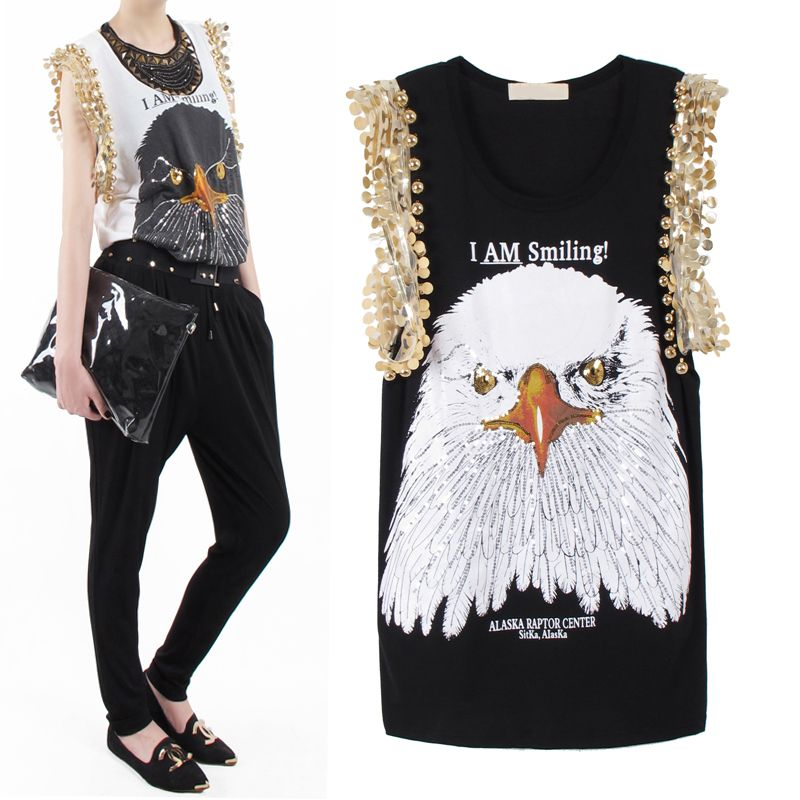 Free shipping! Fashion women punk t shirt eagle paillette print t shirt female summer short sleeve loose medium long t shirt-inT-Shirts from Apparel & Accessories on Aliexpress.com