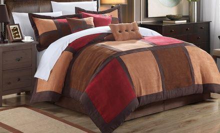 7 Piece Diana Microsuede Comforter Set Comforter Sets Chic Home Home