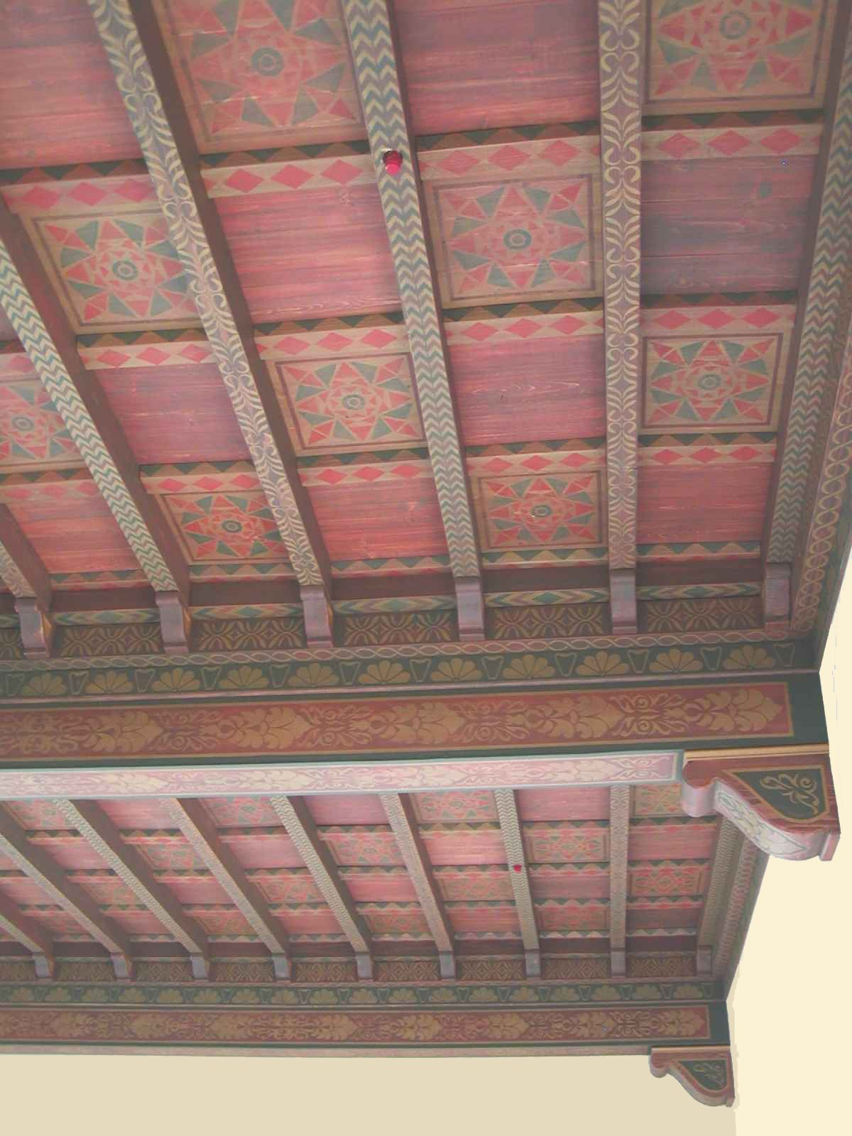 A Lot Of Time Went Into This One Painted Beams Painted Ceiling